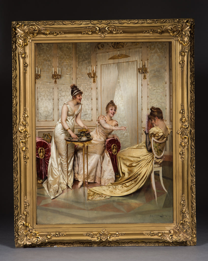 Oil on canvas by Frederic Soulacroix 'Afternoon tea for three'