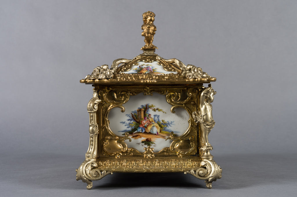 German porcelain mounted gilt and silvered bronze casket