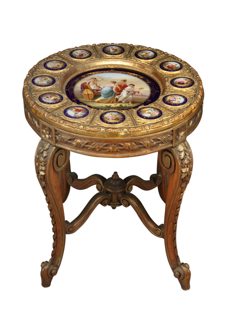 19th century Royal Vienna style  porcelain mounted wood table