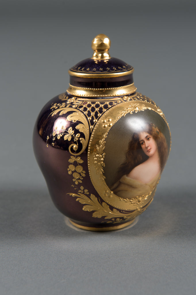 A Fine Royal Vienna Iridescent Painted Porcelain Vase with Lid