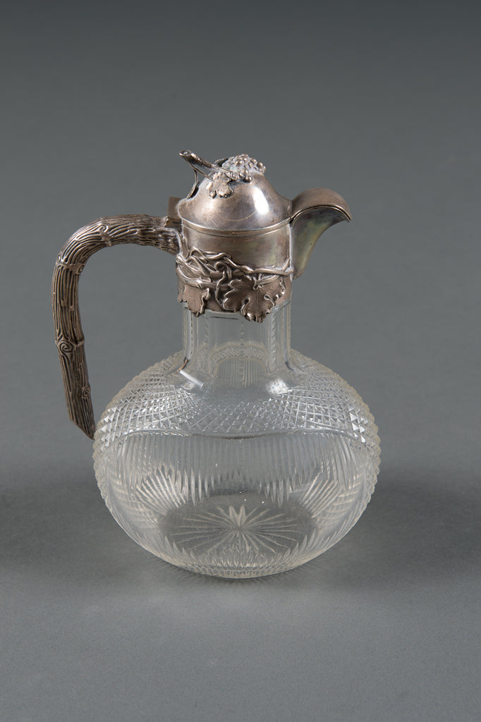 A 19th Century German .800 Silver & Cut Glass Decorated Ewer