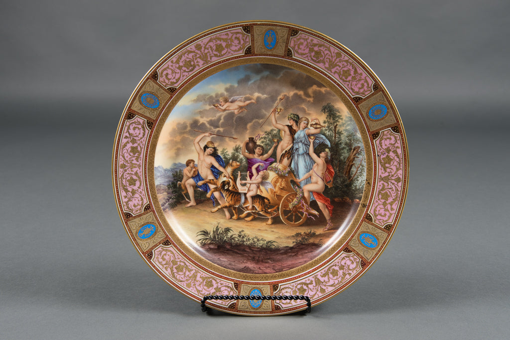 An Antique Austrian Hand Painted Royal Vienna Style Charger With Tigers