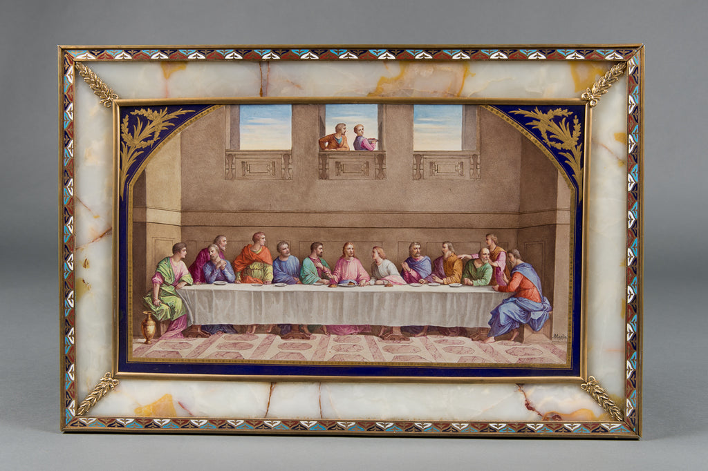 "Antique Sevres Style porcelain plauqe - ""The last supper"""