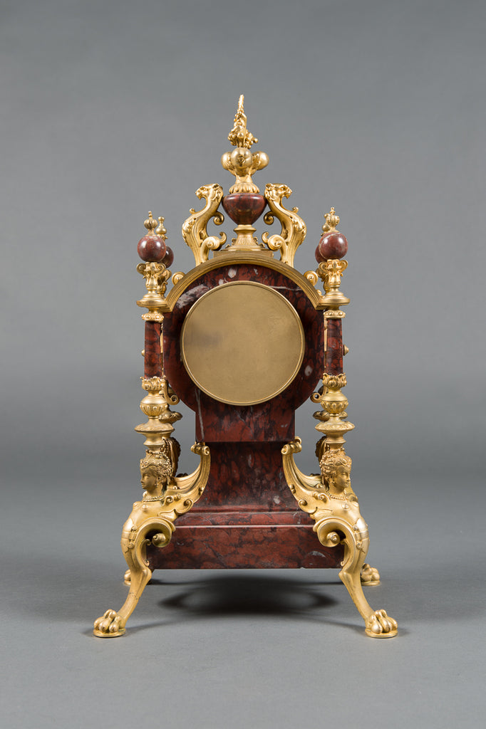 A 19th Century French Rouge Marble & Gilt Bronze 3-Piece Clock Garniture