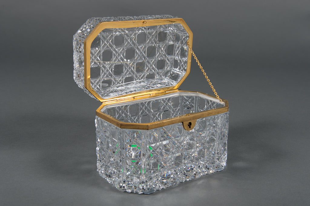 A French Baccarat Cut-Glass and Brass-Mounted Hinged Box