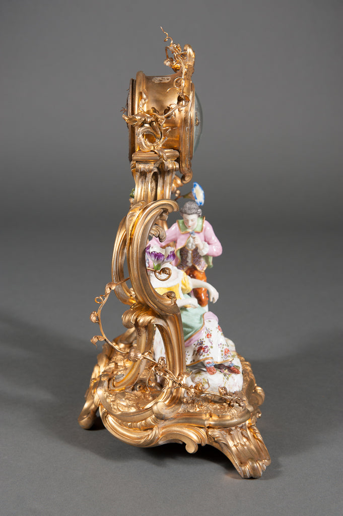A 19th Century French Louis XV Style Gilt Bronze & Ceramic Desk Clock