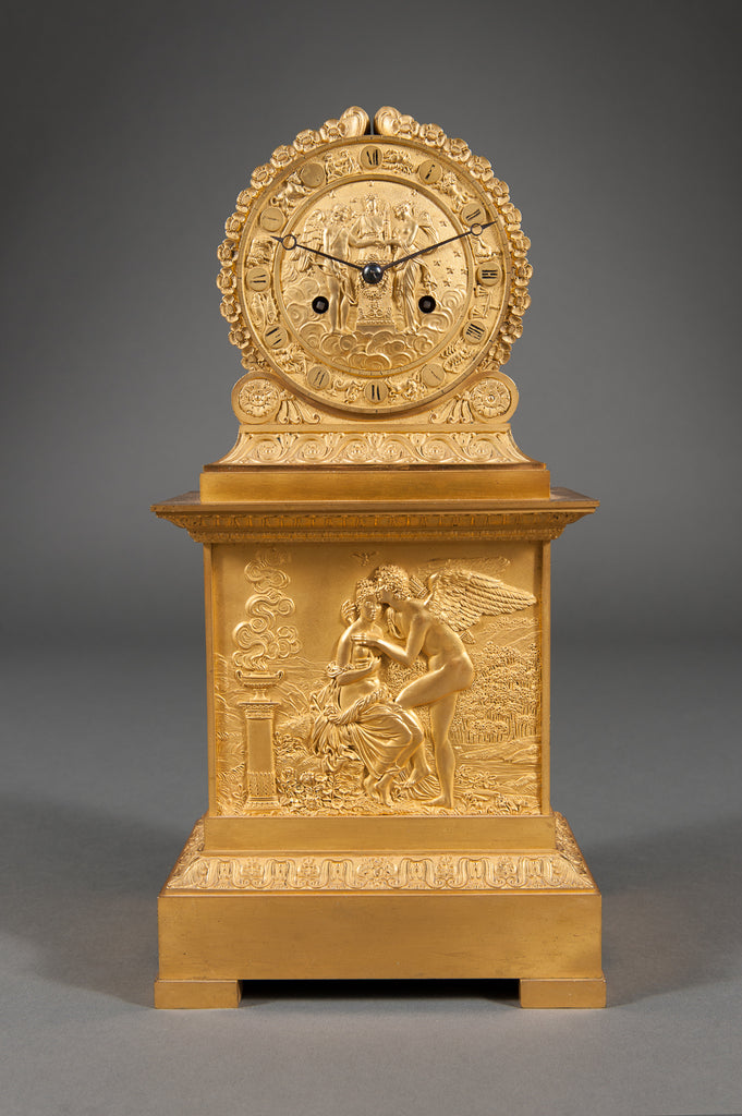 A French Antique Charles X Ormolu Bronze Mantel Clock Depicting Cupid & Psyche