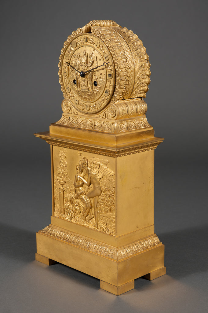 French Empire Ormolu Mantel Clock Depicting Cupid & Psyche