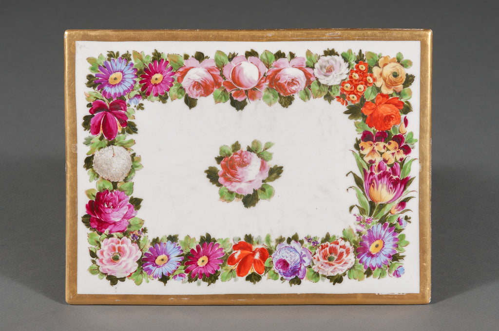 A French Antique Limoges Hand Painted Porcelain Floral Plaque