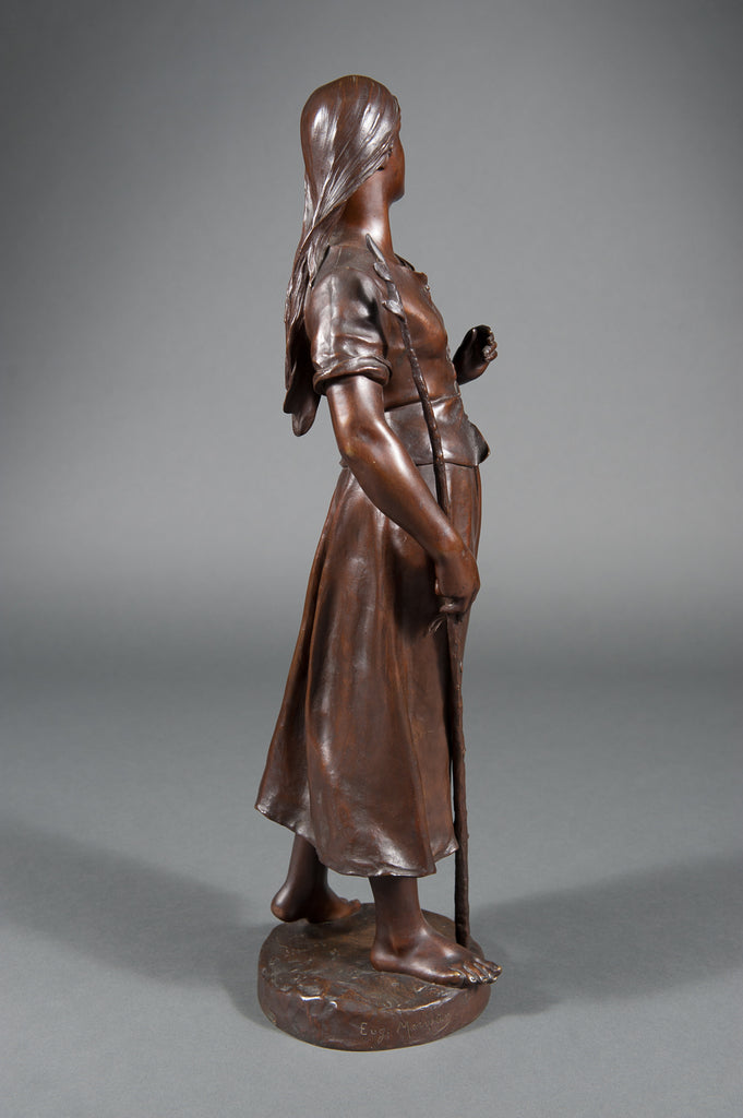 A 19th C. French Patinated Bronze of a Standing Peasant Women After Eug Marioton