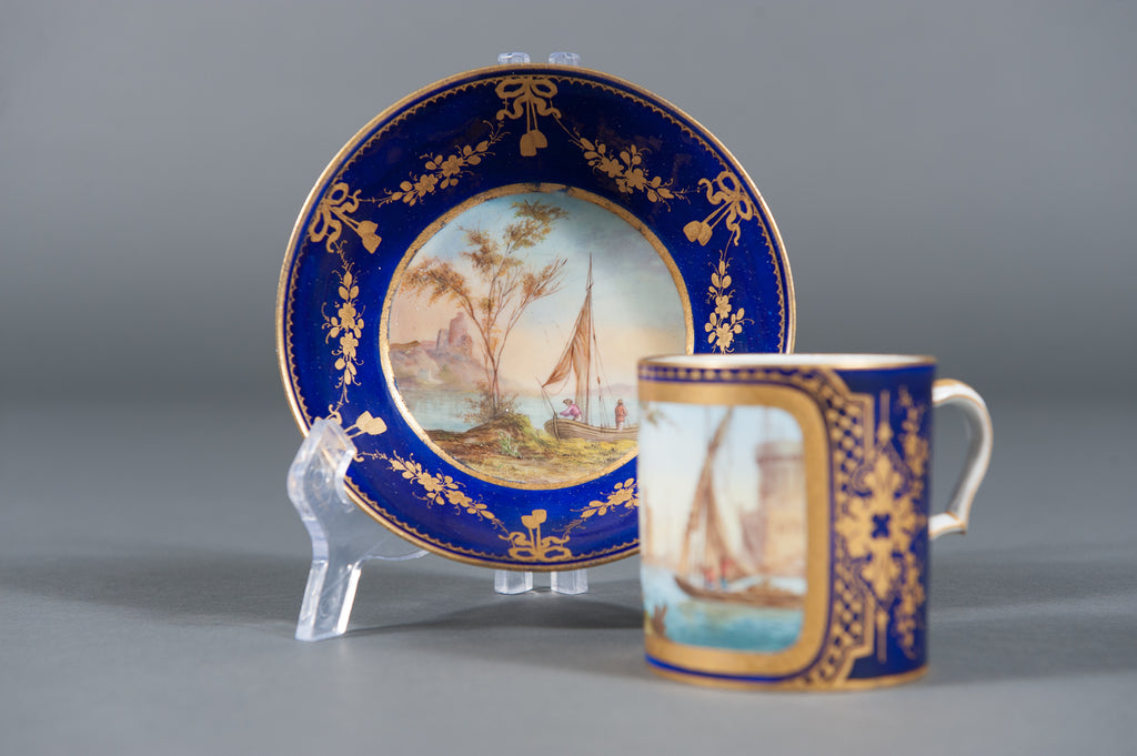 A Fine 19th Century Hand-painted Sevres Porcelain Cabinet Plate & Saucer