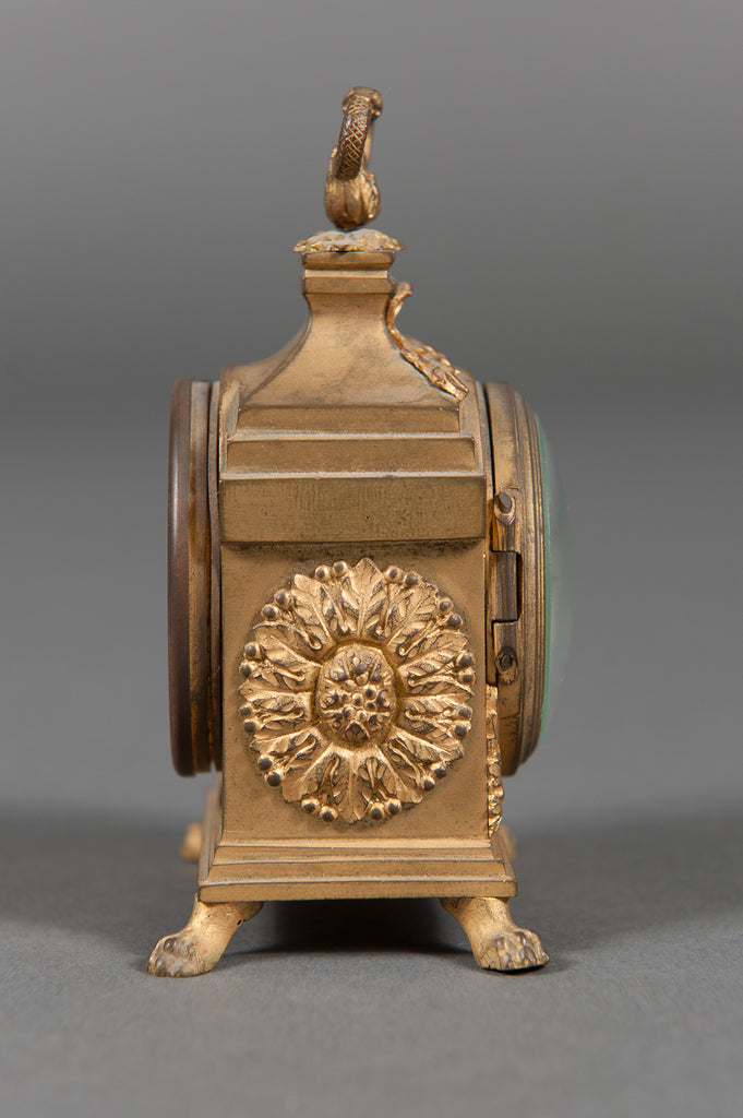 A Late 19th Century Gilt-Bronze Miniature Carriage Clock