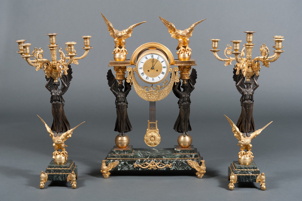 An Exquisite French Second Empire Ormolu Bronze & Green Marble 3-piece Clock Garniture Clock Set