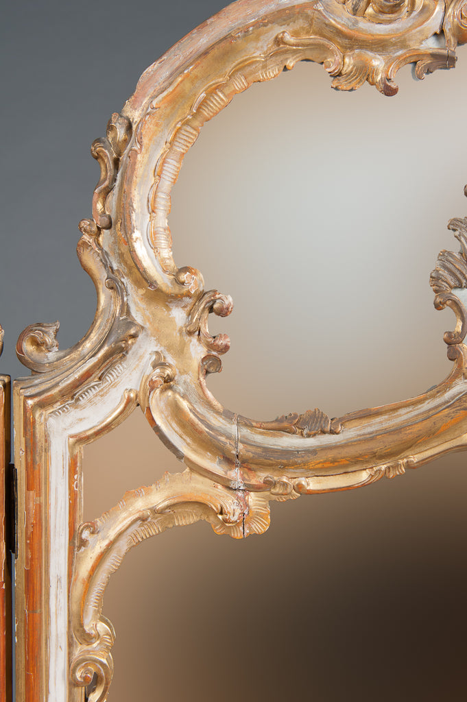 An Italian Rococo Style 3-Panel Gilt-Wood Mirrored Room Divider
