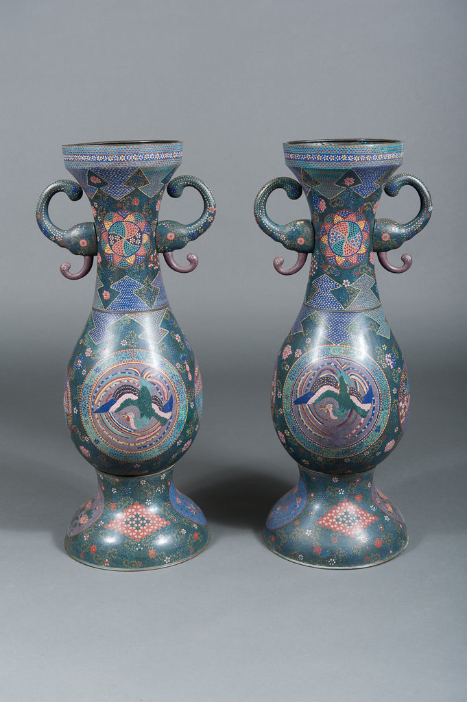 A Pair of Large Early 20th Century Japanese Cloisionne Enamel Palace Vases