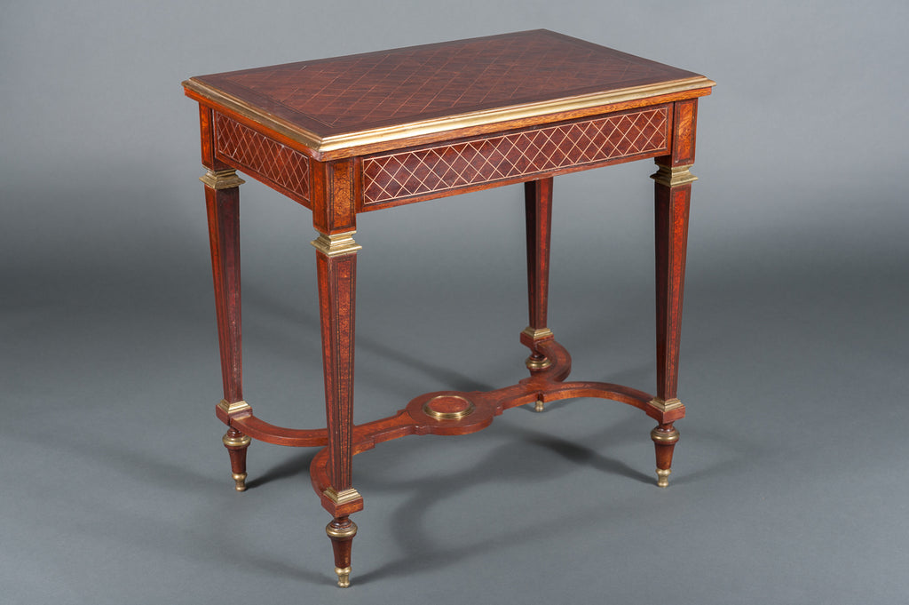 A Pair of 19th Century English Mahogany Side Tables with Gilt Brass Mounts & a Stretcher