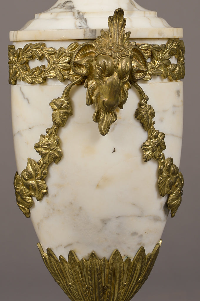 Pair of gilt bronze mounted white marble cassolettes