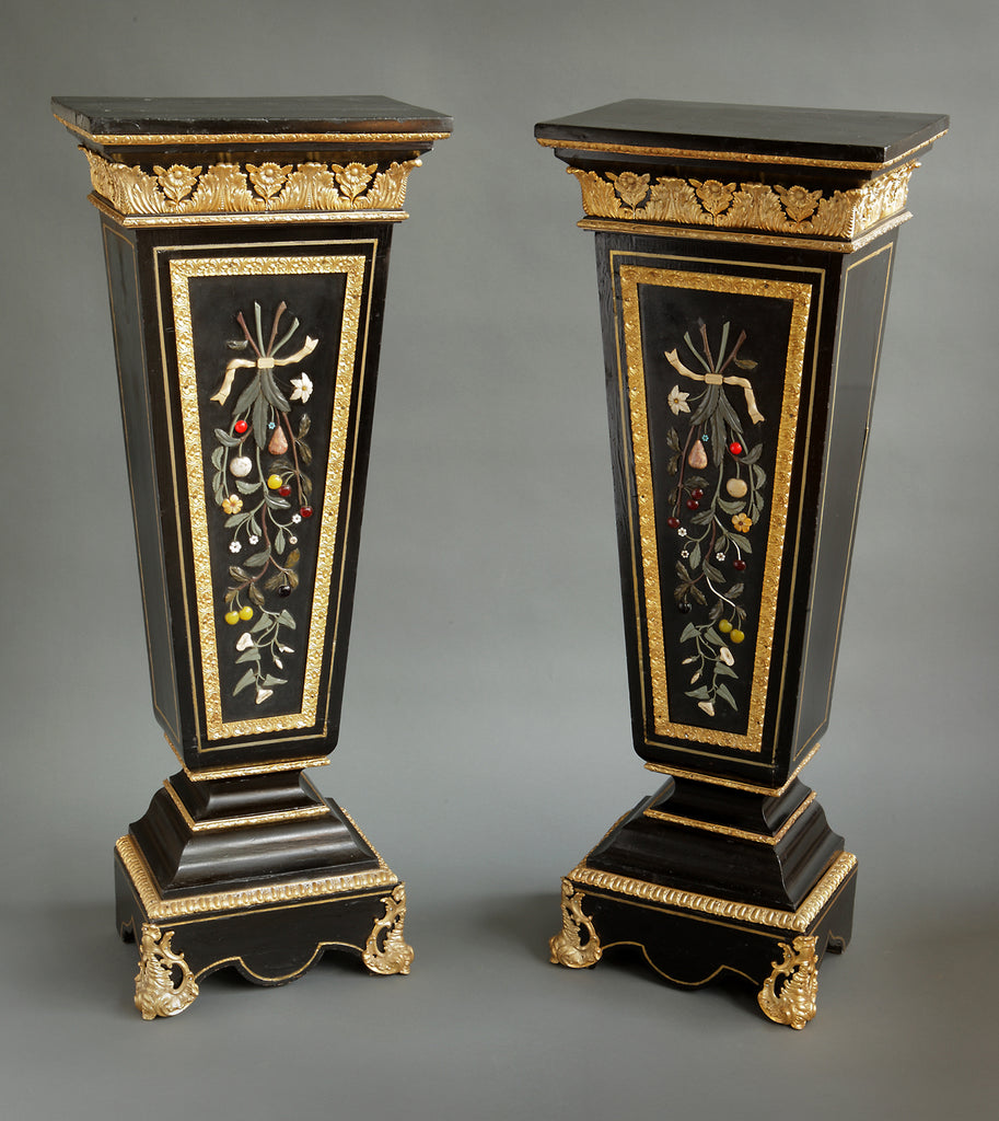 Pair of 19th century French Pietra Dura pedestals