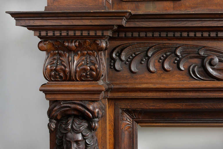 Monumental French Carved walnut and Oak fireplace