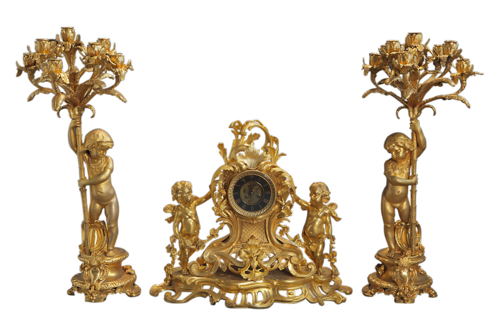 Large 19th century French gilt bronze 3 piece figural clock set w/ cherubs