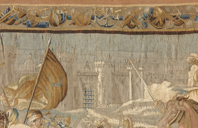 "Large 17th Century Flemish Tapestry Titled ""Battle over Jerusalem"""