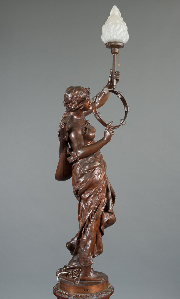 Large Bronze Figural Torchere Depicting Music By Jules Felix Coutan