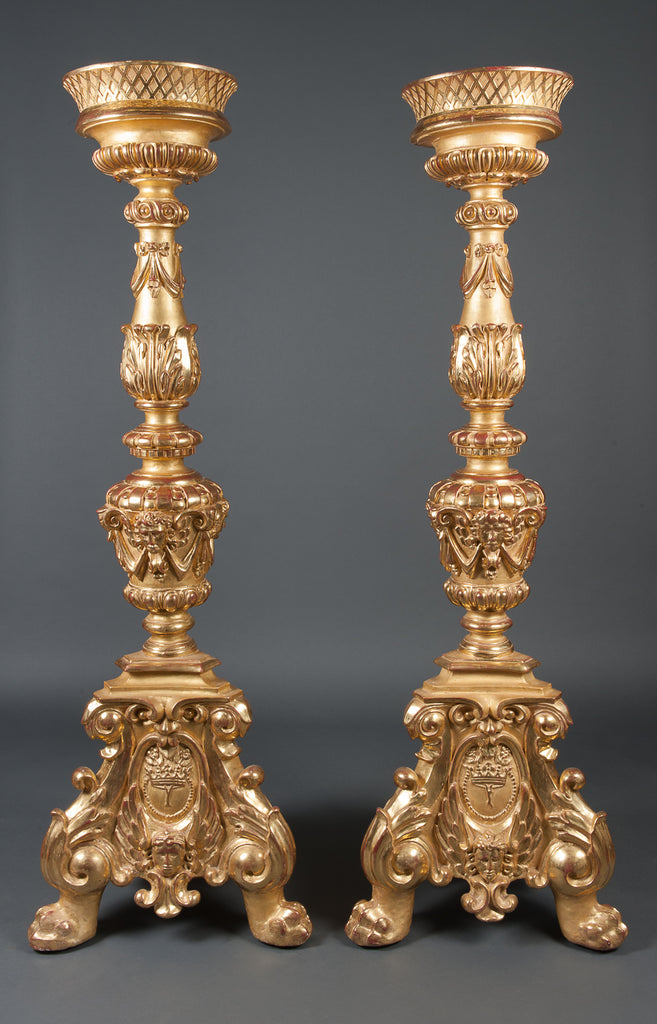 A Pair of monumental carved giltwood Pedestals / columns