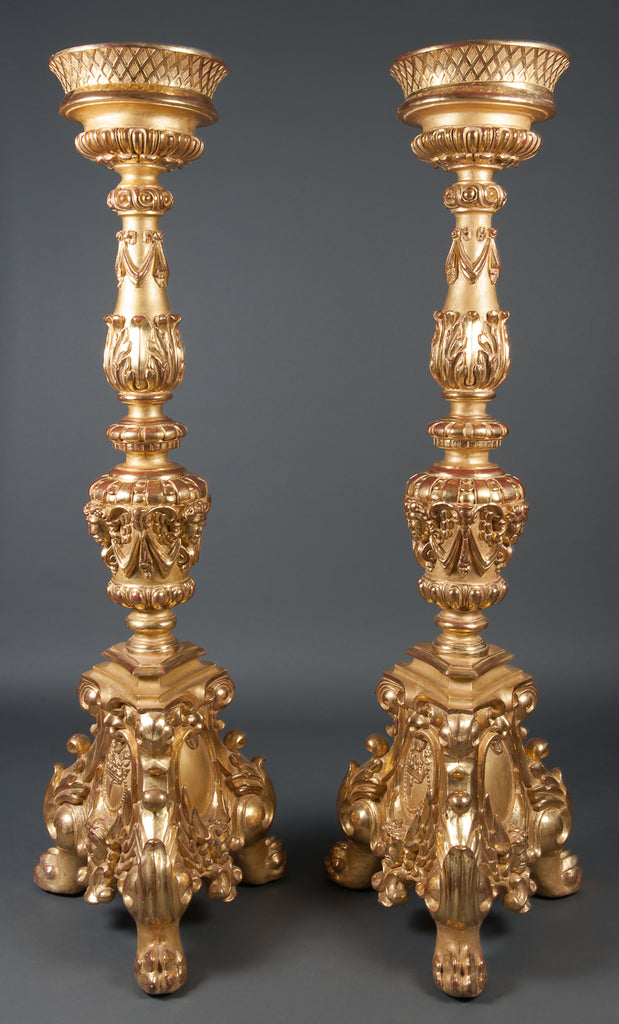 A Pair of Bronze Pedestals