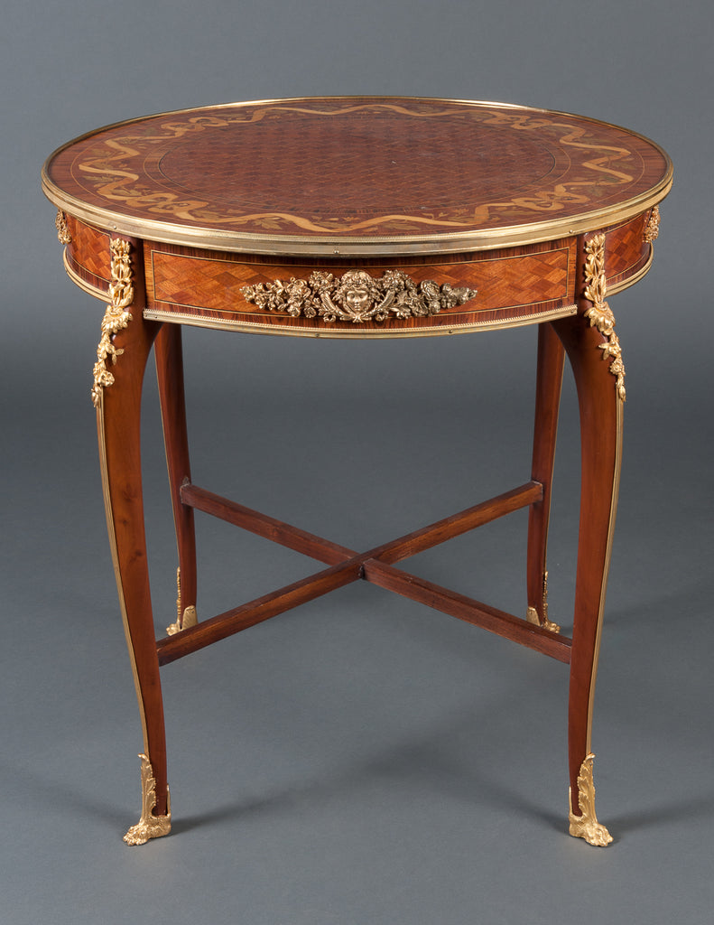 French Marquetry Center Table by FRANCOIS LINKE