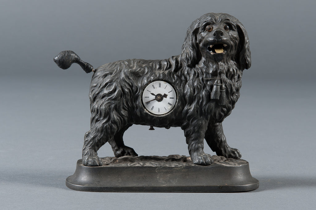 A Rare 19th Century German Cast Iron Animated Dog Novelty Timepiece
