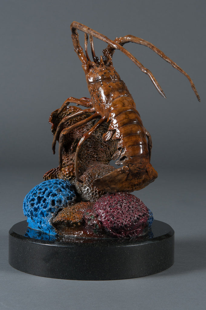 A Signed Contemporary Bronze Floridian Lobster Sculpture