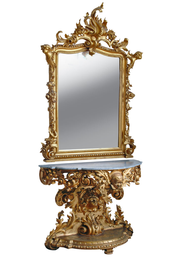 Monumental Italian carved giltwood console and mirror