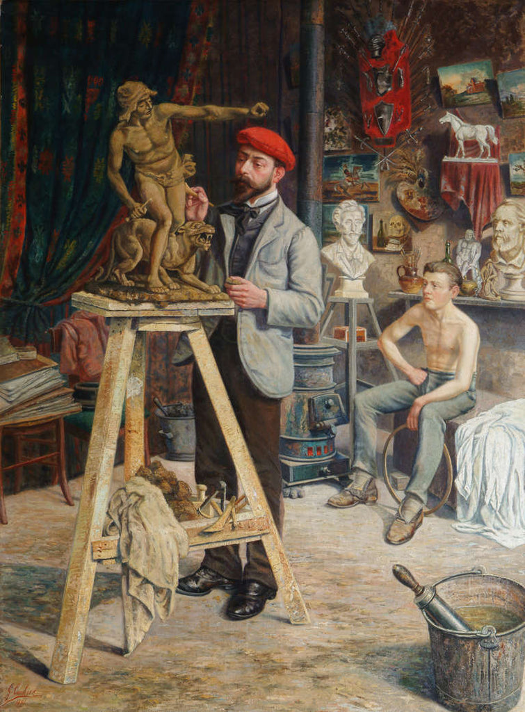 Large Oil on Canvas by Louis Gustave Cambier
