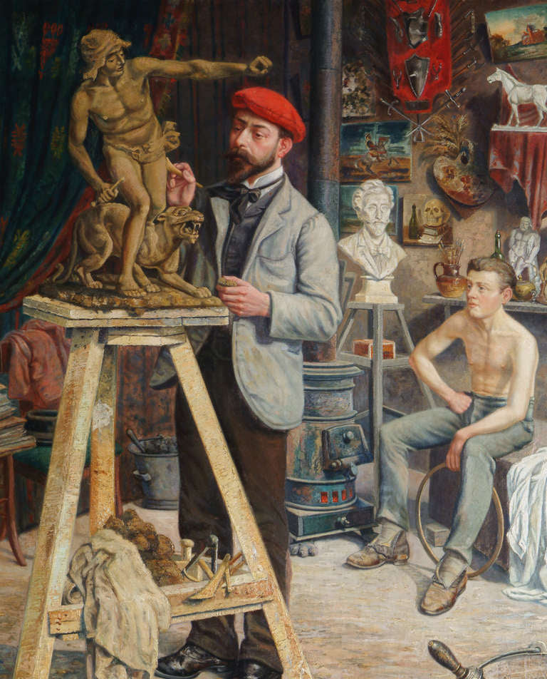 A Palatial Antique Belgian Oil on Canvas Painting Depicting a Sculpting lesson
