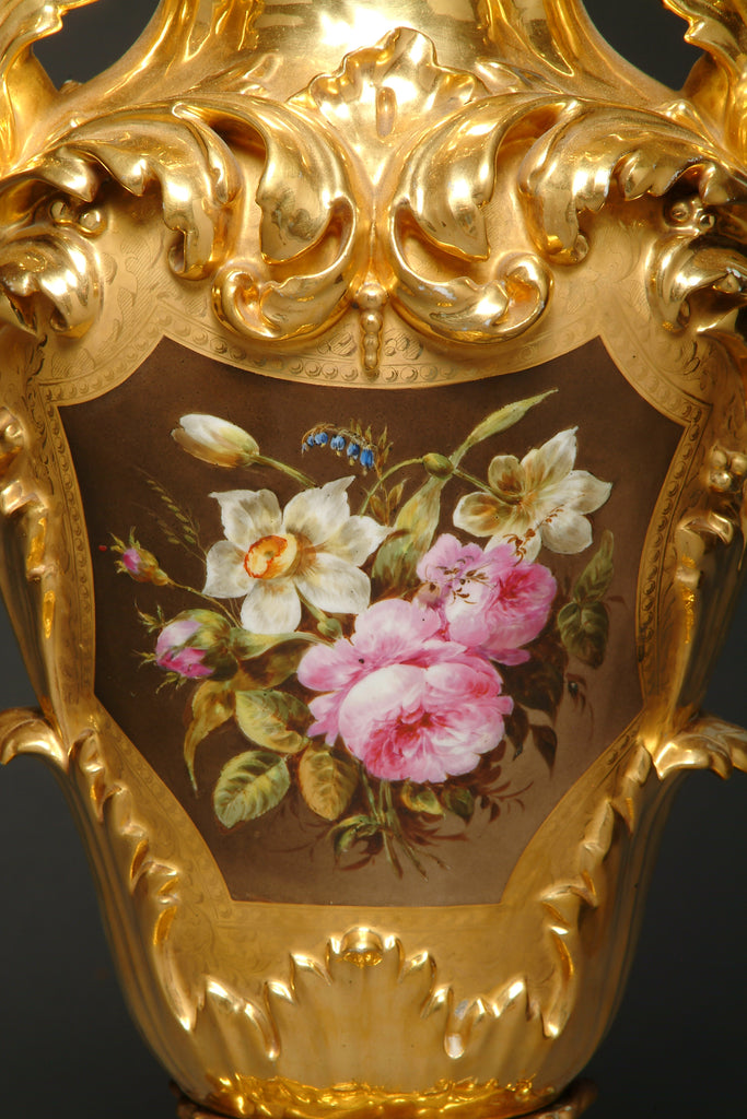 large French hand painted gilt porcelain vase
