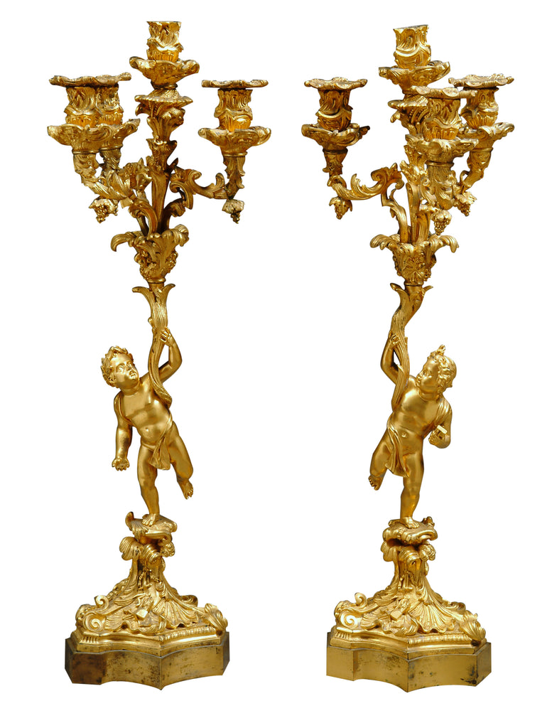 A Pair of Antique  Ormolu figural Candelabras