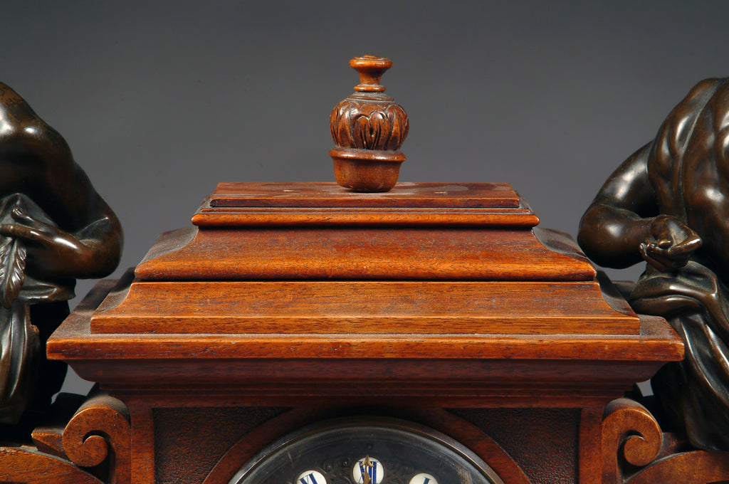 A Large 19th Century French Bronze Mounted Carved Walnut Mantel Clock