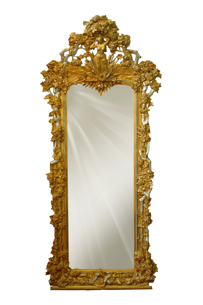 Large French silvered and giltwood pier mirror