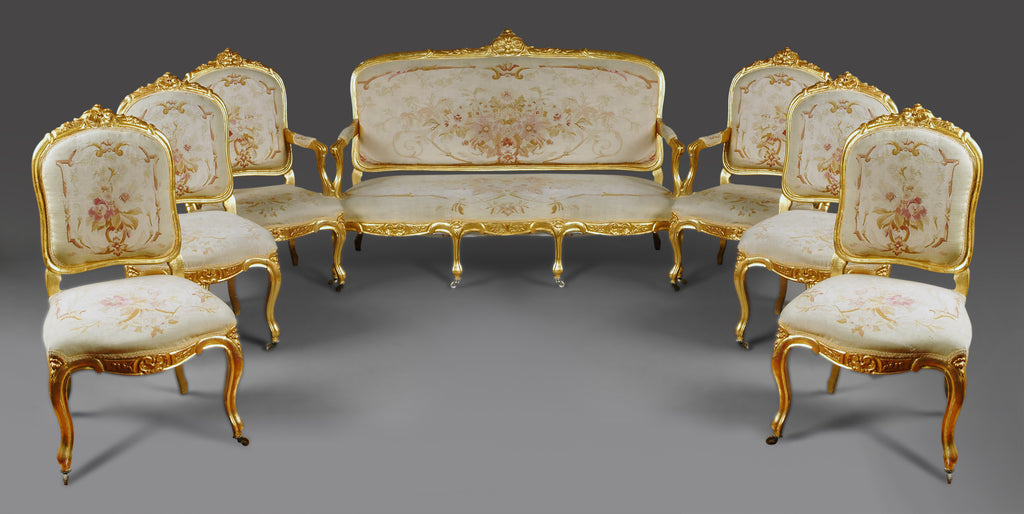 Fine 19th Century French Napoleon III Gilt-Wood Aubusson Tapestry 7-piece salon suite
