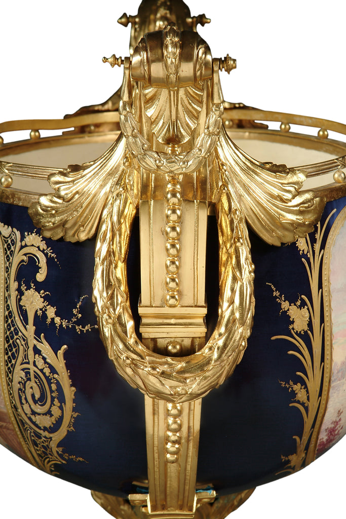 Monumental French Sevres Style Cobalt Blue Centerpiece
