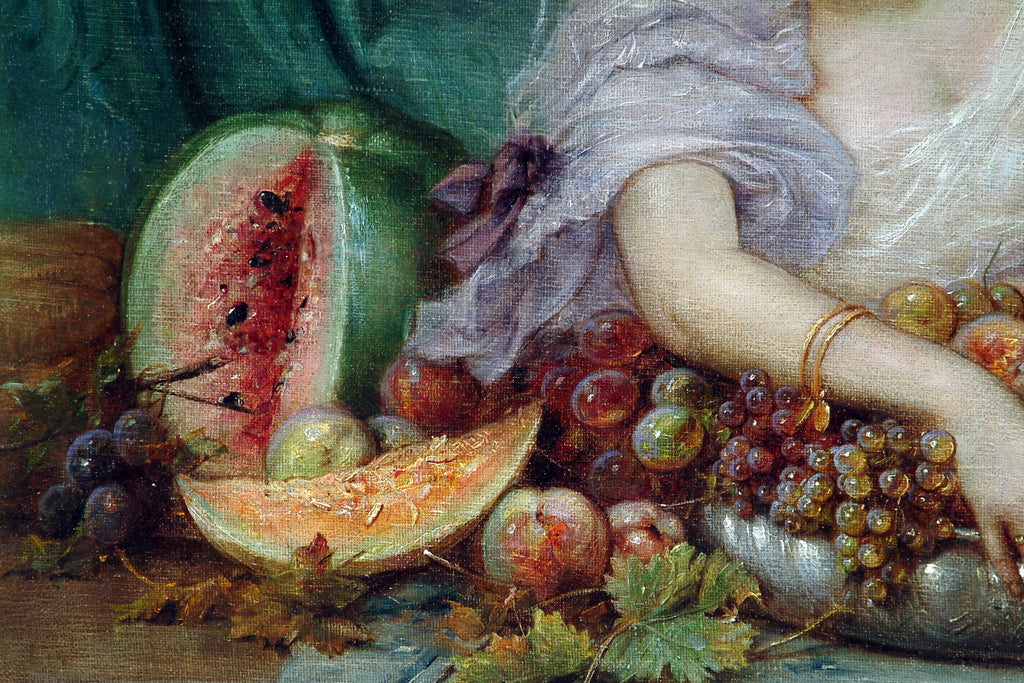 Hans Zatzka, oil on canvas - 'Young lady with fruit'