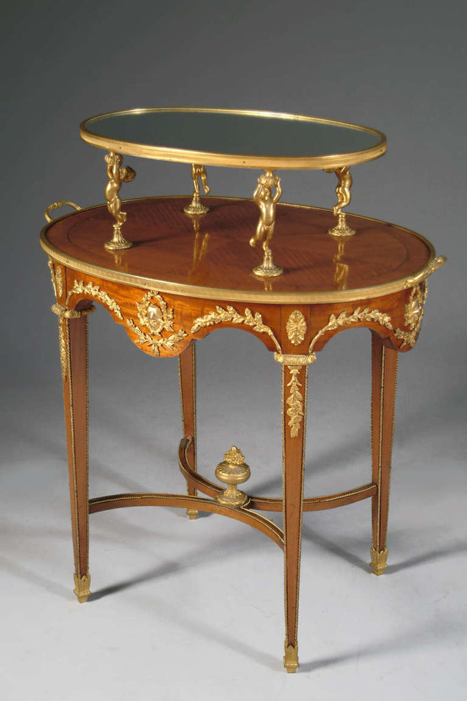 French Louis XVI Style Ormolu Mounted Two-Tier Tea Table