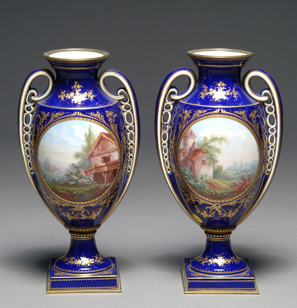 A Finely 19th Century Pair of French Sevres Style Hand-Painted Porcelain Vases