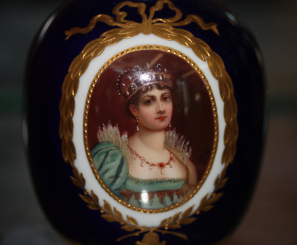 An Antique Austrian 19 Century Royal Vienna Portrait Vase