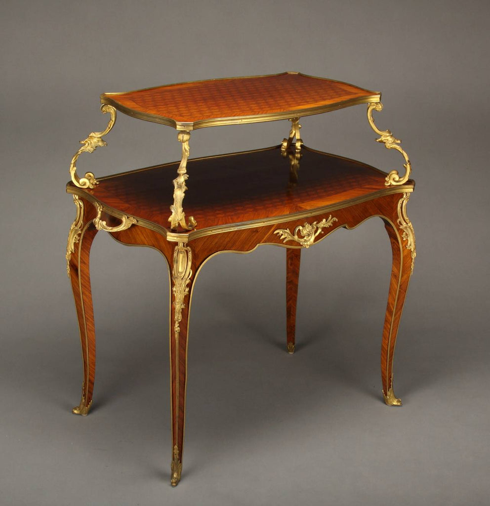 French Ormolu Mounted & Parquetry Two-Tier Tea Table