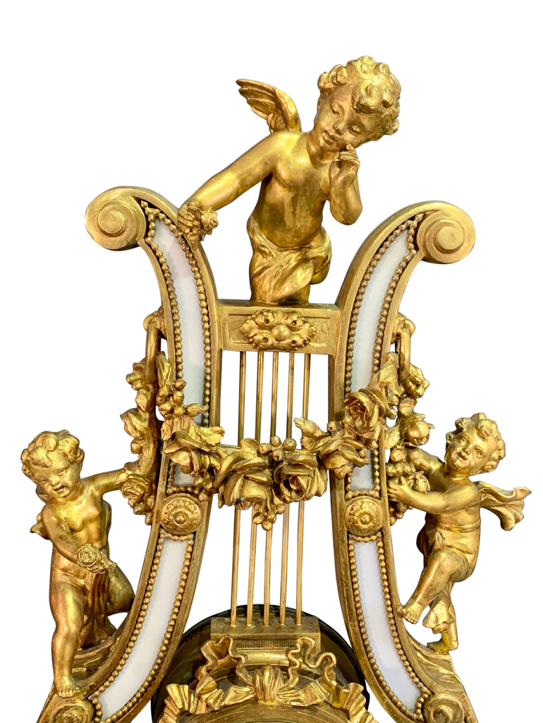 French Gilt Bronze and Marble Lyre Clock Garniture