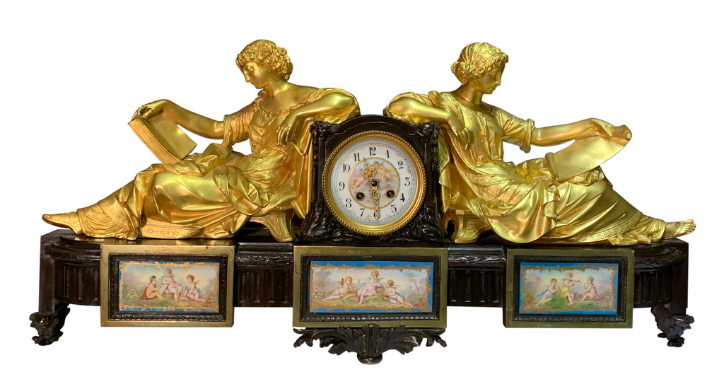 19th century French Sevres style ormolu mounted figural clock