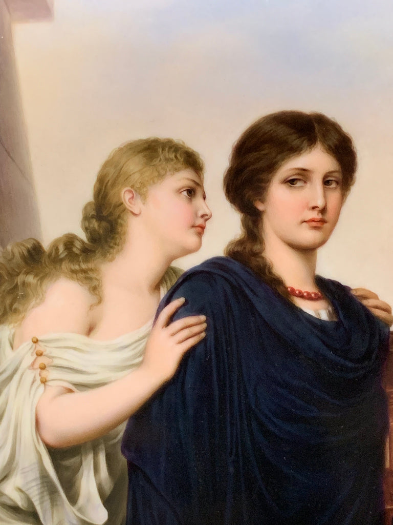 Berlin K.P.M Porcelain Plaque depicting 2 ladies
