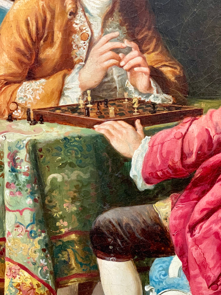 """The Chess Game"" oil on canvas by Ernesto Ricardi"