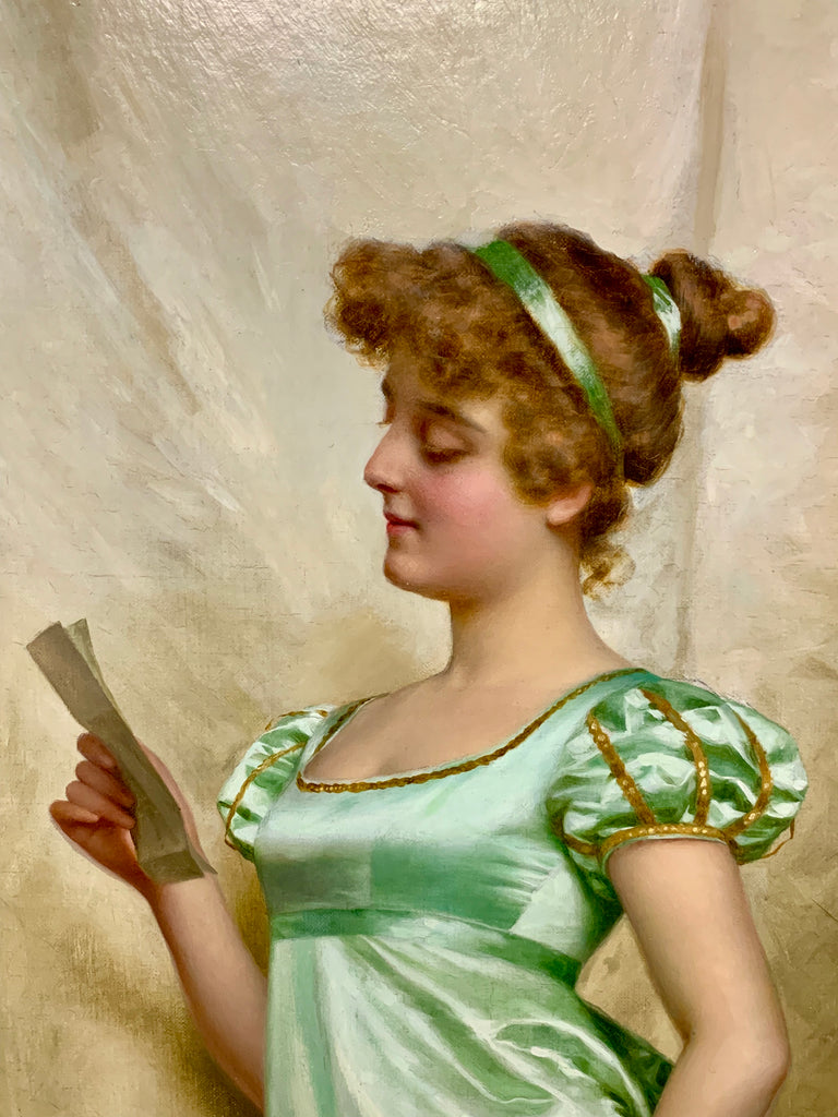 'The Love Letter', oil painting by Vittorio Reggianini